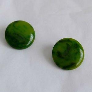 Vintage Bakelite marbled green disk button earring